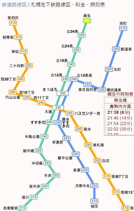 地下鉄料金札幌